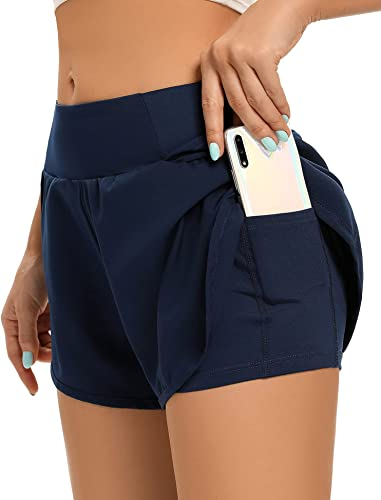 AZOSUN Women's Workout Running Shorts with Pockets-2 in 1 Soft&Comfortable Lining Lounge Athletic Yoga Shorts