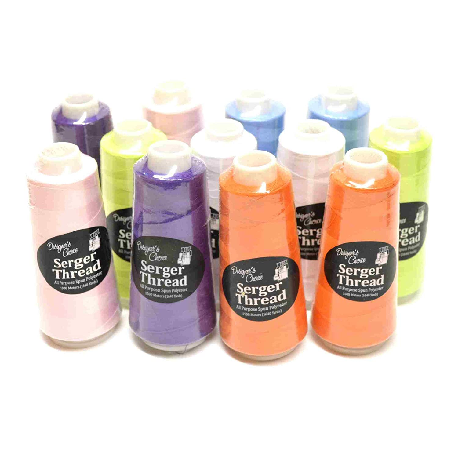Bundle Set of 12 BRIGHT Overlock Serger Quilting Embroidery Thread Cones 2 each Asst Colors 1500 M