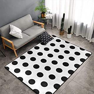 NiYoung Bedroom Living Room Kitchen Big Size Area Rug Home Art - Black Polka Dot Pattern Floor Pad Rugs Fast Dry Bathroom Rug Mat Yoga Mat Throw Rugs Carpet, 60 x 39 Inch