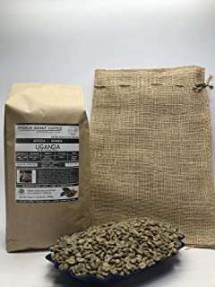 5 Pounds – Northern Africa – Uganda – Unroasted Arabica Green Coffee Beans – Grown Region Rwenzori – Altitude 1200-1500M – Bukonzo Organic Farmers - Drying/Milling Process Washed - Includes Burlap Bag