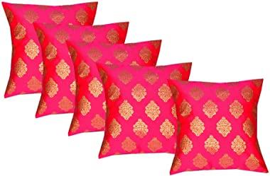 pink parrot Durable Dopian Silk Decorative Jacquard Cushion Cover Sofa Chair Seat Pillowcase (Pink, 40x40 cm) -Set Of 5 Pcs