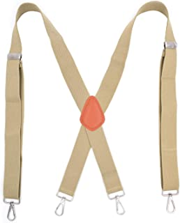 Levao Mens Suspenders with 4 Hook Clips X-Back Solid Color Adjustable Braces