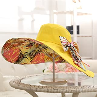 AINIYF Women's Foldable Printed Sun Hat, Summer Casual Outdoor Sun Protection UV Protection Beach Cap, Double Sided Use (Color : Yellow)