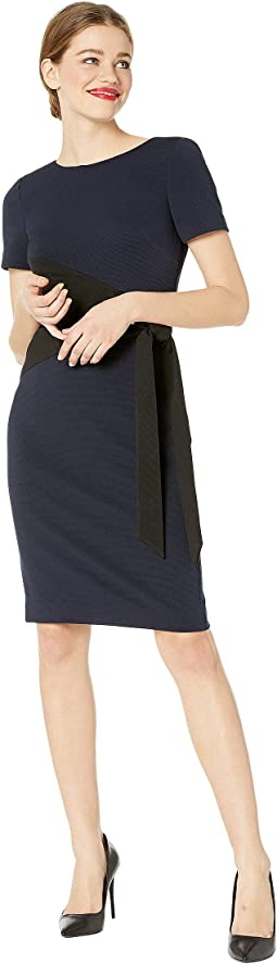 Two-Tone Stretch File Tie Front Day Dress