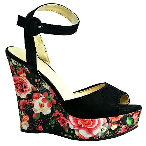 9119c58e617e CucuFashion New Womens Platforms Ladies High Heel Wedges Floral Print  Pattern Peep Toe Ankle Strap Shoes