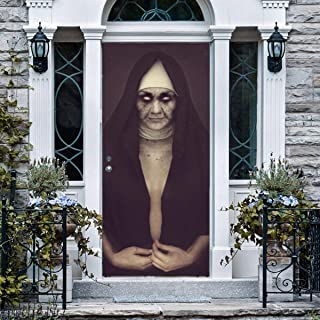 ANPHSIN Halloween 3D Nun Door Stickers- 30 x 80 inches Horrible Ghost Nun Lifelike Halloween Door Wallpaper Decoration Murals Wall Stickers for Halloween House Party Room Decor Favors Supplies (MT075)