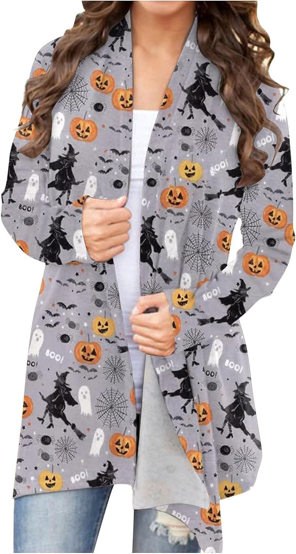 UOCUFY Halloween Cardigan for Women, Womens Long Sleeve Open Front Top Funny Cute Pumpkin Ghost Graphic Lightweight Coat