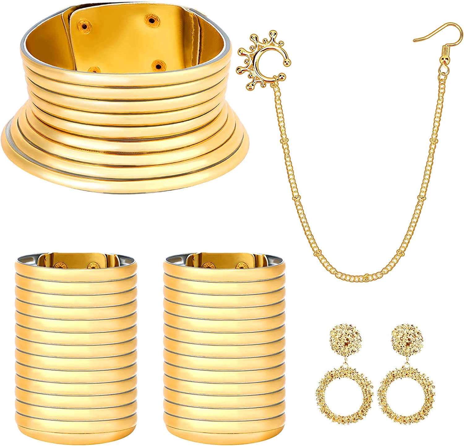 5PCS African National Gold Flamboyant Jewelry Set Adjustable Vintage African Choker Necklace, Resin Snap Bracelet, Nose Rings Hoop Chain, Gold Hoop Earrings Jewelry for Women Girls