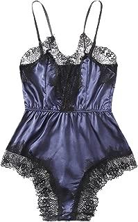 Women's Sexy Strappy Lace Trim Sleepwear Lingerie Jumpsuit Romper