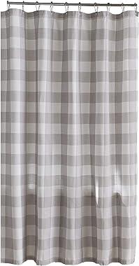 "Elrene Home Fashions Farmhouse Living Buffalo Check Fabric Shower Curtain, 72"" x 72"", Gray/White"