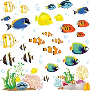 DECOWALL DS-8035 Coral Reef Fish Kids Wall Stickers Wall Decals Peel and Stick Removable Wall Stickers for Kids Nursery Bedroom Living Room (Small) décor