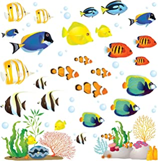 DECOWALL DWT-1811 Coral Reef Fish Kids Wall Stickers Wall Decals Peel and Stick Removable Wall Stickers for Kids Nursery Bedroom Living Room