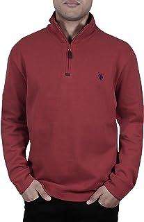 US Polo Assn. - Pullover da uomo a costine con collo alto, con cerniera a 1/4