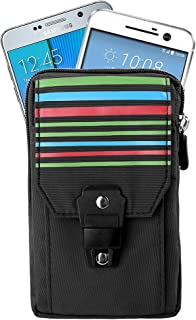 Outdoor Hiking Pouch Holster Pack Carry Accessory Kit Belt Loops Waist Bag for HTC 10, HTC One A9, M9, Huawei Nexus 6P, ZTE Axon 7, Grand X 3, BLU Neo 5.5, Sony Xperia Z5, Black