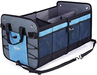 G4Free Car Trunk Organizer for SUV, Auto, Truck, Minivan, Groceries and Home Collapsible Cargo Container with 4 Compartments& Anti-Slip/Waterproof Bottom& Straps(Gray Blue)