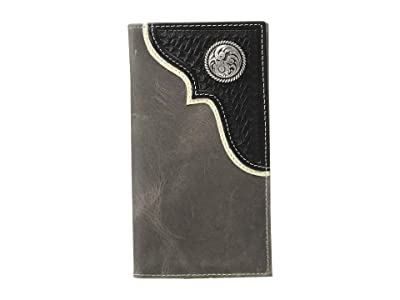 M&F Western Nocona Corner Overlay w/ Round Concho Rodeo Wallet (Black) Handbags