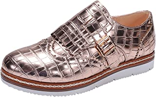 Nature Breeze Women's Wingtip Loafer Croc Embossed Flatform Oxford Shoe