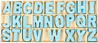 104 Piece Set Wooden Letters - Wooden Craft Letters with Storage Tray - Wooden Alphabet Letters, Blue