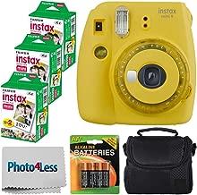 Fujifilm instax Mini 9 Instant Film Camera - Fujifilm Instax Mini Film (60 Shots) + Compact Camera Case + 4 AA Batteries + Photo4Less Cleaning Cloth - Accessory Bundle (Film Bundle, Yellow)