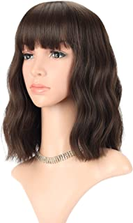 Wavy Wig Short Bob Wigs With Air Bangs Shoulder Length Women's Short Wig Curly Wavy Synthetic Cosplay Wig Pastel Bob Wig for Girl Costume Wigs Natural Black Dark Brown Mix Color 6# and 8#
