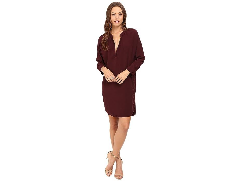 Michael Stars Modern Rayon 3/4 Sleeve Split-Neck Dress (Rosewood) Women