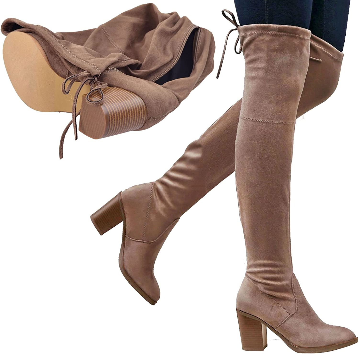 Generation Y Womens Knee High Boots Zipper Closure Block Heel Over The Knee Boots