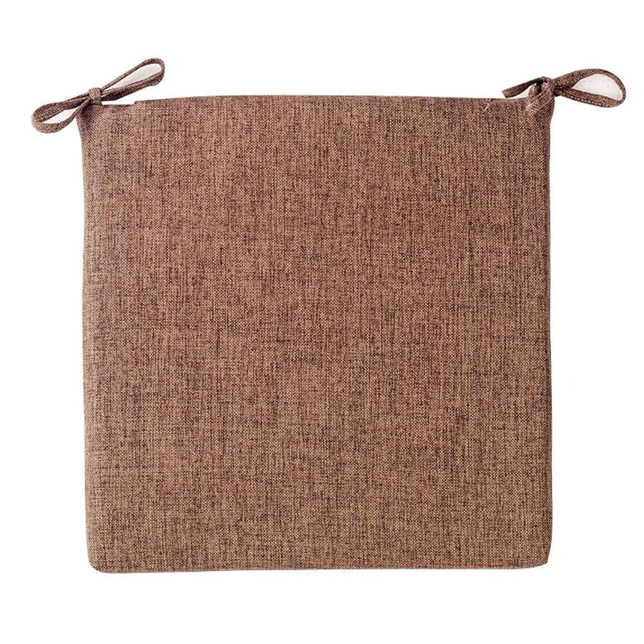 取り出す球状フリースZWXXQ コットンとリネン チェアクッション 取り外し可能 ネクタイ付き クッション そして洗える 快適さ Thickness 4 cm クッション 通気性 柔らかい 畳敷きクッション-45x45x4cm 褐色
