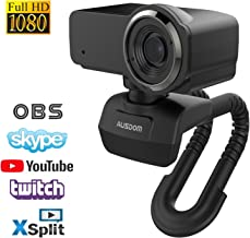 HD Webcam 1080P with Microphone, Ausdom USB Computer Web Camera, OBS Live Streaming Webcam, Widescreen Video Camera for Calling & Recording,Laptop Desktop Webcam for YouTube Xsplit Mixer Skype Twitch