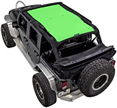 SPIDERWEBSHADE Jeep Wrangler Mesh Shade Top Sunshade UV Protection Accessory USA Made with 5 Year Warranty for Your JKU 4-Door (2007-2018) in Green