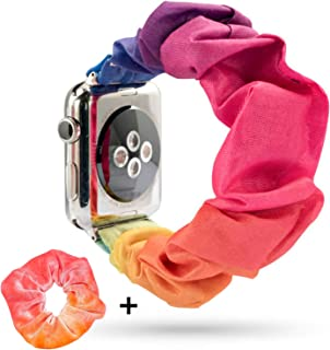 YOSWAN Hair Band Compatible for Apple Watch 38mm 40mm, Women Girls Scrunchie Elastic Watch Wristbands Replacement for iWatch Series 54321 Hair Rubber Bands Included (Rainbow, 38mm/40mm)