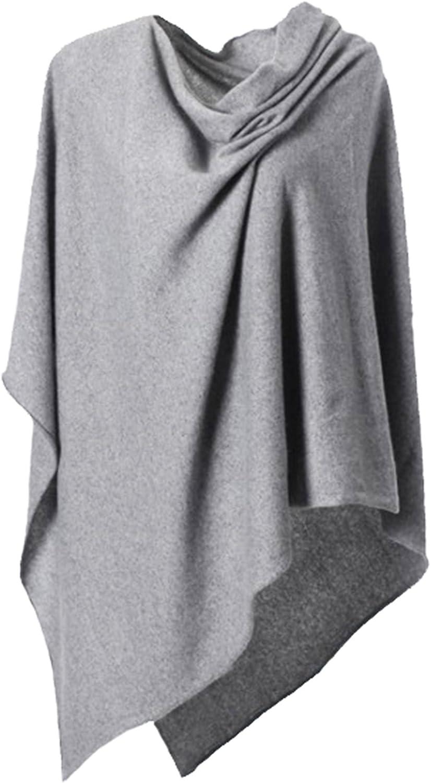 Anna Kristine Pure Cashmere Asymmetrical Draped Poncho  Heather Grey