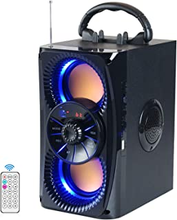 $37 » Bluetooth Speakers, Portable Wireless Speaker with Lights, Double Subwoofer Heavy Bass, FM Radio, SD Player, Remote, Suitable for Travel, Indoors and Outdoors (Renewed)