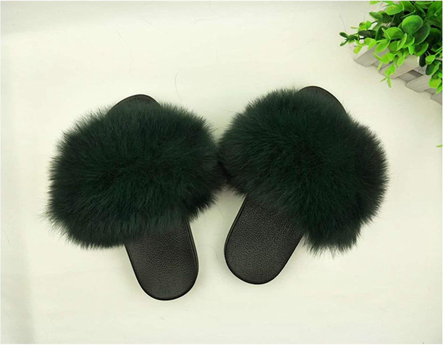 Houfeoans Fur Slippers Women Fox Home Fluffy Sliders with Feathers Furry Summer Flats Sweet shoes