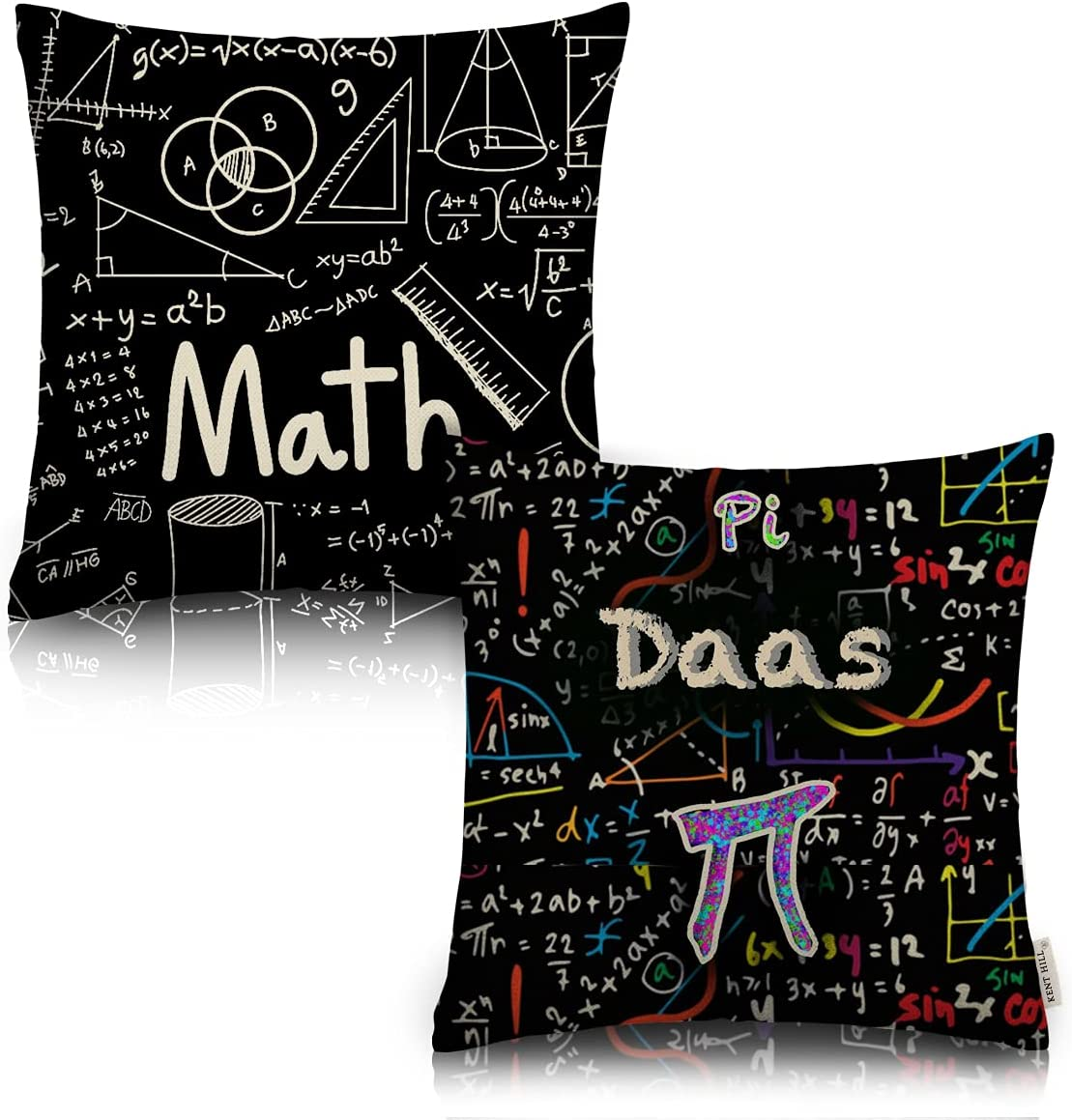 AOOPUC Pi Math Throw Pillow Covers Set of 2 Outdoor Sofa Decor Mathematical Formulas and Symbols Sofa Pillows Cotton Linen 18 X 18 Inches Square for Mathematics Room Couch Sofa Pi Day Gift Chair