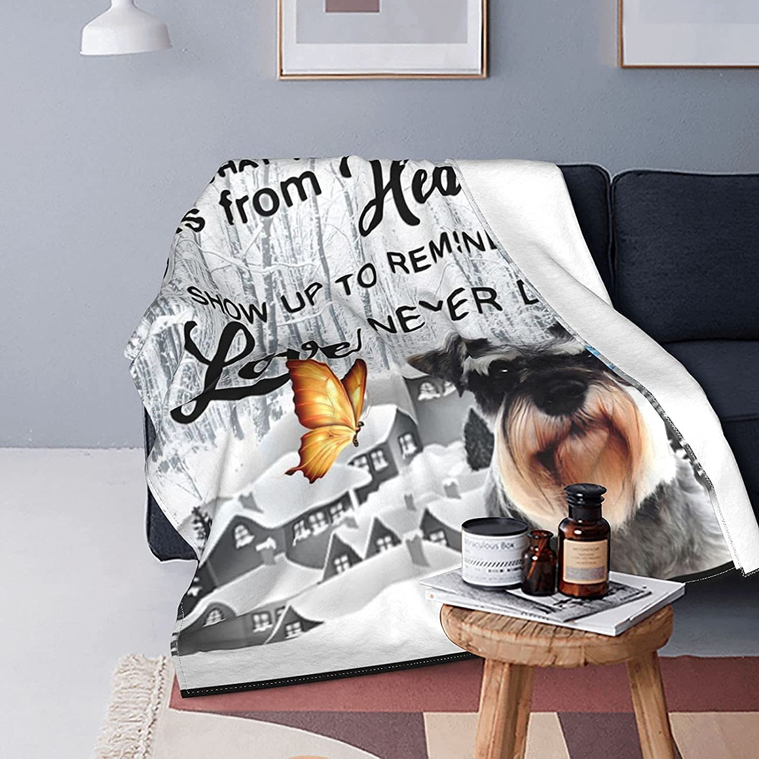 Blanket We OFFer at cheap prices Schnauzer Dog OFFicial site Butterflies in B Fleece Winter Bed