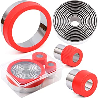 BakingWorld Round Cookie Cutter Set - 14 Piece Circle Shapes Stainless Steel Cookie Fondant Cutters Mold for Donuts Biscui...