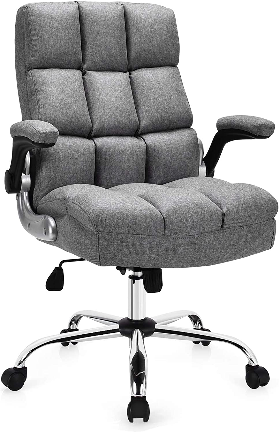 Giantex Executive Office Chair, Big and Tall Ergonomic Computer Chair, Adjustable Tilt Angle and Flip-up Armrest Linen Fabric Upholstered Chair with Thick Padding, High Back Managerial Chair (Grey)