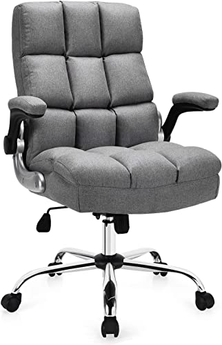 discount Giantex Executive Office Chair, Big and online sale Tall Ergonomic popular Computer Chair, Adjustable Tilt Angle and Flip-up Armrest Linen Fabric Upholstered Chair with Thick Padding, High Back Managerial Chair (Grey) outlet sale
