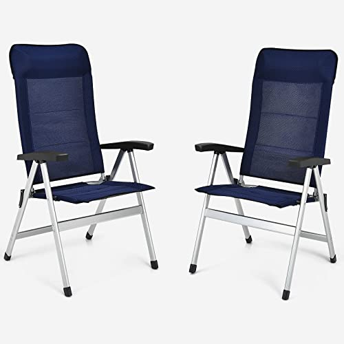 new arrival Giantex Set high quality of 2 Patio Chairs, Folding Outdoor Chairs, High Back Recliner with Headrest online sale and Armrests 7 Levels Adjustable Camping Chairs Safe Lock Lawn Chairs Porch Balcony Furniture, Blue online