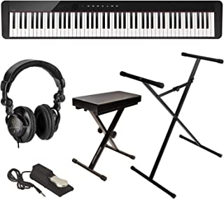 Casio Privia PX-S1000 88-Key Digital Piano (Black), Bundle with Bench, Stand, Sustain Pedal and Headphones