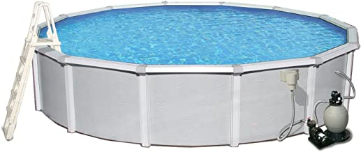 Blue Wave Samoan 15-ft Round 52-in Deep 8-in Top Rail Metal Wall Swimming Pool Package
