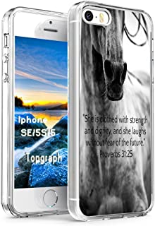 Case for 5S Bible Verse - Topgraph [Slim Fit Full Coverage] Bumper Compatible for iPhone 5/5S/SE [Christian Words She is Clothed with Strength and Dignity and She Laughts Proverbs]