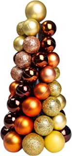 Sunlit 10'' Christmas Ball Ornaments Tree, Christmas Decorations Balls Tree, Mini Artificial Christmas Tree, Home and Office Tabletop Decor, Indoor Fireplace Decoration, Glitter Gold Champagne Bronze
