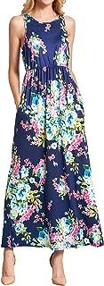 WLLW Women's Sleeveles Round Neck Floral Print Pleated Bohemian Beach Maxi Dress
