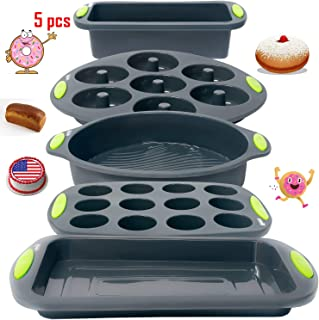 Silicone Bakeware Set-5 Food Grade Premium Silicone Molds-Round Cake Pan-Loaf Pan-Muffin Pan-Donuts Tray-Cake Tray-Safe to use in Oven-Microwave-High-Heat Resistant-Non-Toxic and Nonstick Baking Pans