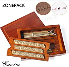 ZONEPACK Copper Brass Stamping Flexible Letters Numbers Alphabets Symbols Characters Molds CNC Engraving Molds for Hot Foil Stamping Machine (Cursive with Wood Box)