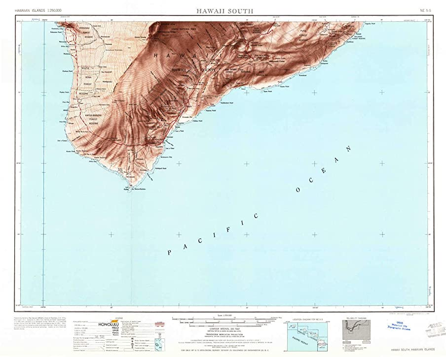 YellowMaps Hawaii South HI topo map, 1:250000 Scale, 1 X 2 Degree, Historical, 1961, Updated 1961, 21.9 x 27.3 in