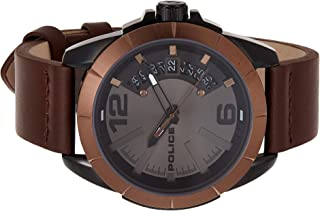 Police Mens Quartz Watch, Analog Display and Leather Strap P 15652JSBBN-61