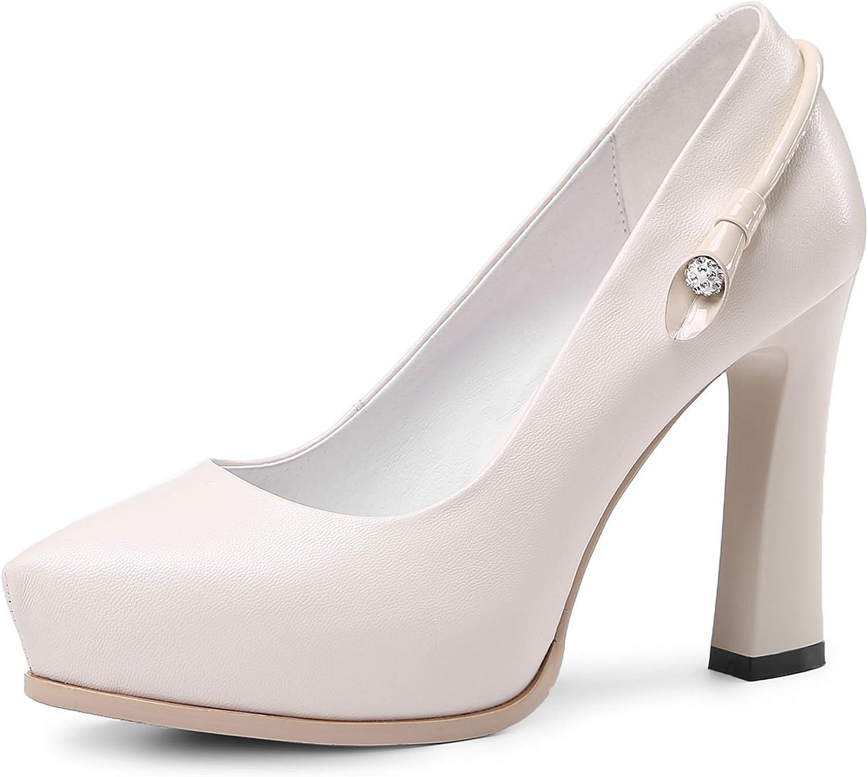 VIMISAOI Women's Soft Genuine Leather Rhinestone Chunky High Heels Pointed Toe Platform Pumps Party Pedding Prom Dress shoes
