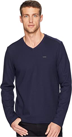 Long Sleeve Fabric Blocked V-Neck